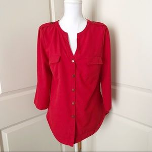 41 HAWTHORN Button Front Blouse Red Size Medium